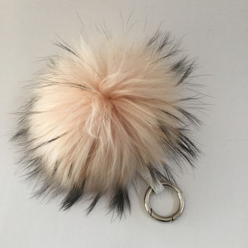 NEW! Raccoon Fur Pom Pom luxury bag pendant + leather strap metal buckle key ring chain bag charm BEIGE