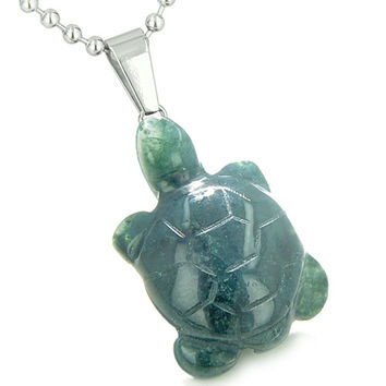 Good Luck Charm Turtle Amulet Indian Green Agate Healing Powers Pendant 22 Inch Necklace
