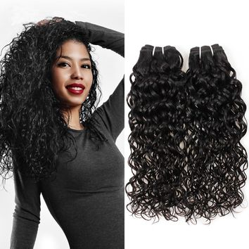 Human Virgin Hair Peruvian water wave Hair 3 Bundles 100% Unprocessed Human Hair Weave
