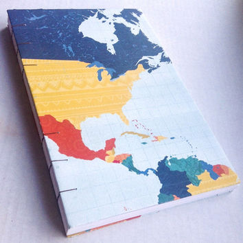 Map travel world coptic stitch sketchbook journal blank 6X9 80 pages