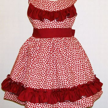Girls Round Neck ruffled Bodice Special Occasion Dress,Red Dots, #523