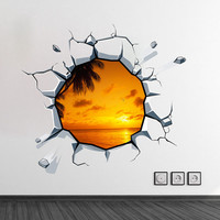 3D Wall Panoramic Image , Hole in the wall effect, optical illusion effect - Photographic Image