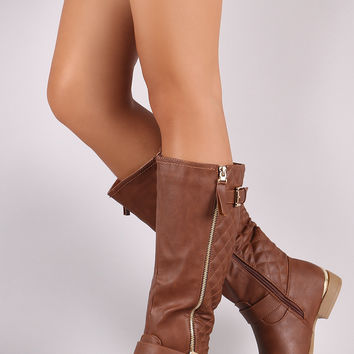 Vegan Leather Buckled Quilted Zipper Trim Riding Knee High Boots | UrbanOG