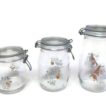 Arc France Glass Jars, Duck Design, 1.5 L, 1 L, 3/4 L, Arc France Ducks, Glass Storage, Vintage Kitchen