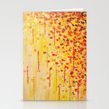 WHEN IT FALLS Bold Autumn Winter Leaves Abstract Acrylic Painting Christmas Red Orange Gold Gift Stationery Cards by EbiEmporium | Society6