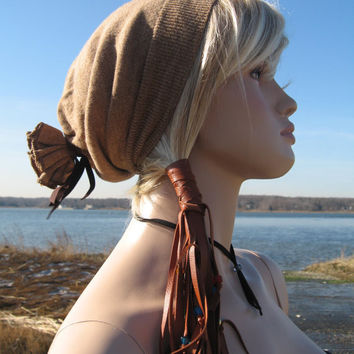 Leather Ponytail Holder  Beaded Hair Wrap by Vacationhouse on Etsy