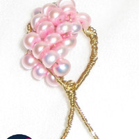 Pink pearls bow pendant  by Yogy's