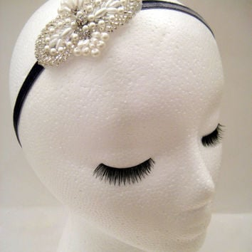 1920s inspired flapper white art deco headband fascinator headpiece Great Gatsby Downton Abbey Boardwalk Empire pearl beaded rhinestone