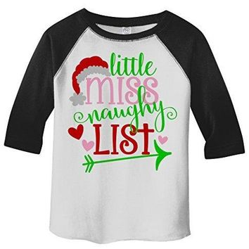 Shirts By Sarah Girl's Little Miss Naughty List Funny Christmas 3/4 Sleeve Baseball Raglan Shirt
