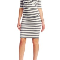 Jersey Striped 3/4 Sleeves Dress