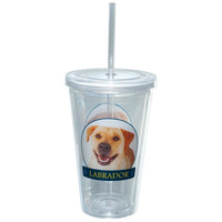 Labrador Retriever Portait Plastic Pint Cup With Straw