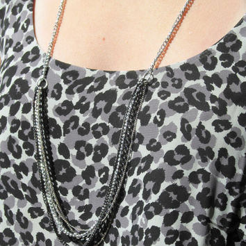 Black and Silver Long Layered Chain Necklace by FantasyBeadDesigns