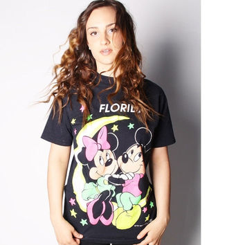 SALE 30% Off - 90s Neon Moon and Stars Mickey Mouse and Minnie Mouse Day-Go Disney Florida Tourist TShirt 00093s