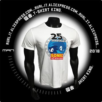 RURL 2018 Brand T Shirts Awesome Shirt harajuku Cool Tees Top Mens T Shirts 25th Sonic the Hedgehog Hipster Tees