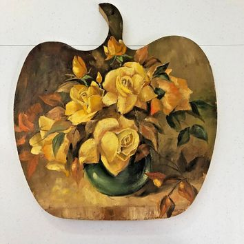 Hand Painted Wall Decor Yellow Rose Oil Painting on Apple Shaped Board