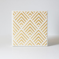 Gold Geometric Coasters Hand Painted White and Gold Ceramic Tile Coasters (Wedding, Anniversary, Birthday, Bridal Party, Gift)