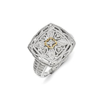 Antique Style Sterling Silver with 14k Yellow Gold Diamond Ring