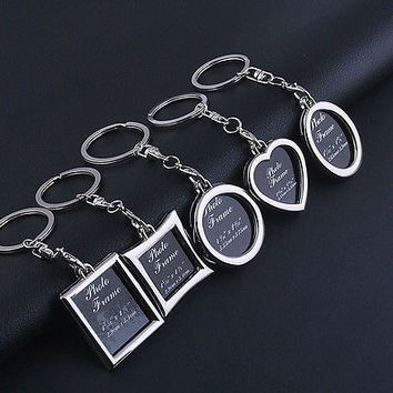1pc Chic Transparent Clear Insert Photo Picture Frame Key Ring Chain Keychain HU