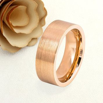 Personalized Name Ring Custom Engraving 8MM Tungsten Wedding Band Brushed Flat Rose Gold Tone Ring - Free Engraving
