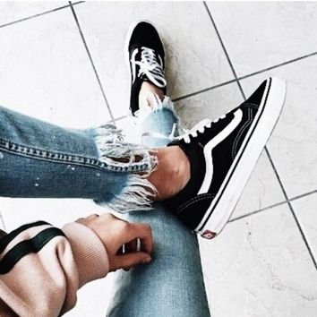 Vans With Warm Casual Shoes Men and women classic black cloth shoes Black-1