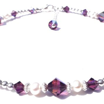 Handmade Sterling Silver Crystal Ankle Bracelets  | Birthstone Amethyst February