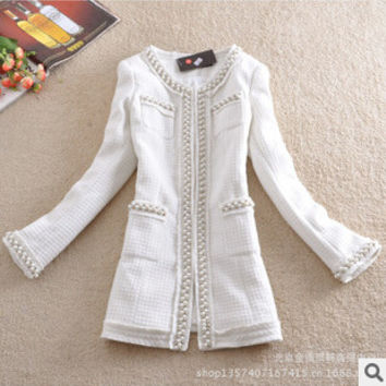 women jacket  The new autumn and winter in Europe and America beaded long section woolen tweed coat ladies coat free shipping