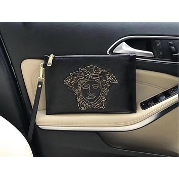 VERSACE MEN'S HOT STYLE LEATHER ZIPPER HAND BAG
