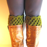 Boot Cuffs Green Lace Boot Toppers Forest Bootcuffs Crochet Leg Warmers Sock Tops