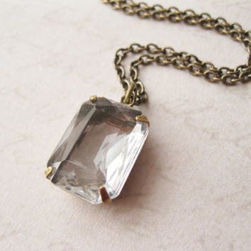 Clear Pendant Necklace Rocker Modern Style Vintage Rhinestone Layering Necklace Antiqued Brass Chain
