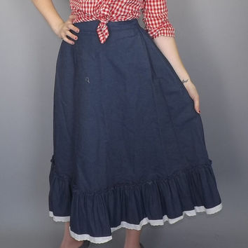 Vintage Rockmount Ranch Wear Blue Denim Eyelet Lace Country Western Square Dancing Fall High Waist A-line Skirt Boho Hippie Cowgirl Rodeo