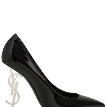 Patent Leather Logo Pump by Saint Laurent
