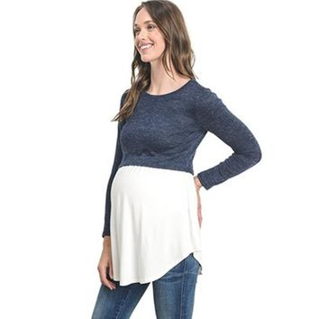 Breast Feeding Maternity Tops Split Joint Nursing Tee Clothes For Pregnant Women Breastfeeding T-shirt Pregnancy Clothing A0078