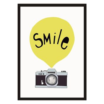 W26 Wall Painting smile camera Posters And Prints Wall Art Canvas Painting Frameless Art Print Wall Pictures Nordic Decoration