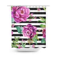 Pink Sunrise in Stripes Shower Curtain