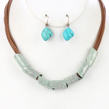 Mint Green Hammered Metal Barrel Multi Cord Bib Necklace And Earring Set