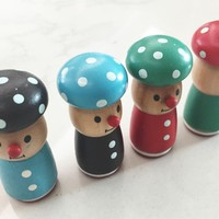 Mushroom Stamp - Rubber wood mounted Stamps - Phrase Stamp - 4 styles can choose