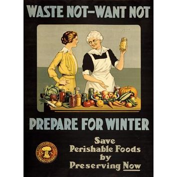 War Propaganda Art Waste Not poster Metal Sign Wall Art 8in x 12in