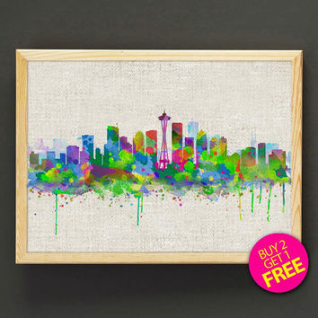 Washington DC Cityscape Watercolor Art Print Seattle Skyline Poster House Wear Wall Art Decor Gift Linen Print - Buy 2 Get FREE - 161s2g