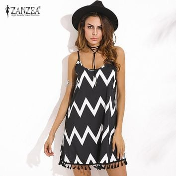 Women's Summer Sexy Tassel Mini Dress With Spaghetti Straps.   In Sizes Small to 2XL.   ***FREE SHIPPING***