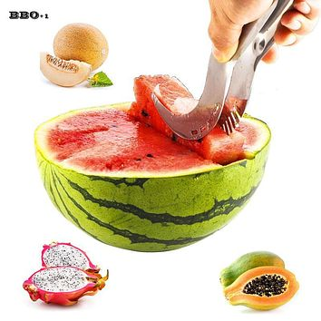Watermelon Slicer Corer Stainless Steel Fruit Peeler Watermelon Knife Faster Melon Cutter Kitchen Gadget Watermelon Cutter
