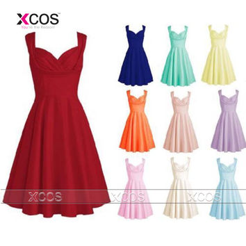 10 Colors Cheap Short Bridesmaid Dresses 2016 Christmas Vestido De Festa Curto Chiffon Wedding Party Dress Under $50 SA102