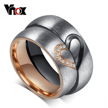 Vnox Vintage Love Puzzle Heart Ring for Valentines Wedding Engagement for Female Male