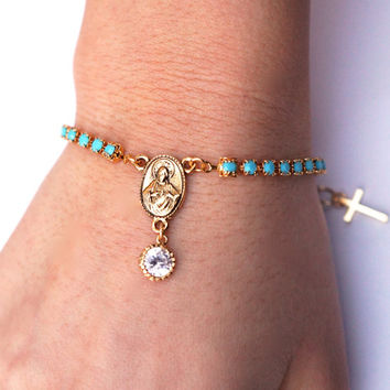 turquoise and vintage crystal rosary bracelet