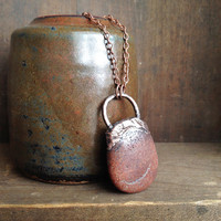 Arizona Stone Necklace - Electroplated Copper Pendant - Huge Statement Pendant - Hippie Boho Stone Raw Mineral Chakra