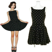 New Fashion DOT Cocktail Evening Party Sundress Black Flakes Dress Size 6-8