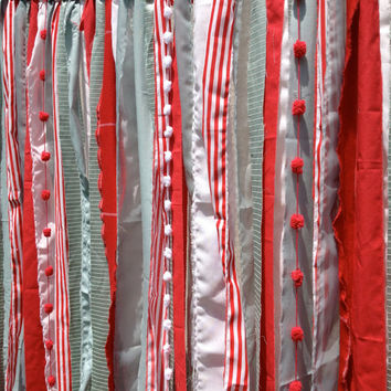 Red Aqua Whimsical Fabric Garland Backdrop - Curtain - Nursery, Teen Room,  Wedding, Birthday Party Decor - 4 ft x 6 ft