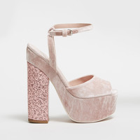 GIAMBA Velvet Stacked Glitter Platform Heels - WOMEN - JUST IN - GIAMBA - OPENING CEREMONY