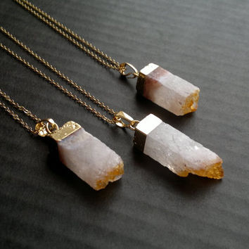Best citrine crystal point products on wanelo citrine druzy necklace citrine pendant citrine crystal citrine jewelry crystal point square crystal gold dipped stone aloadofball Choice Image