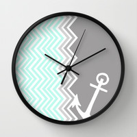 Nautical Chevron Wall Clock by Sunkissed Laughter