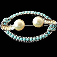 Ciner Turquoise Beads Brooch with Pearls and Baguette Rhinestones Signed